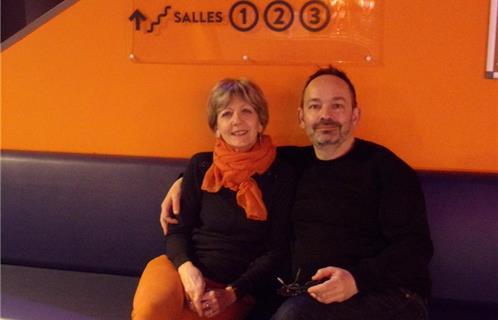 Le critique de cinéma Xavier Leherpeur avec la présidente de Lumière(s) du  Sud