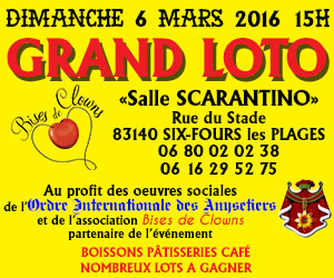 Grand loto salle Scarantino Six Fours le 6 mars 2016